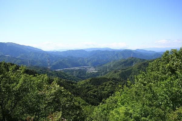 水晶山の頂上からの眺望