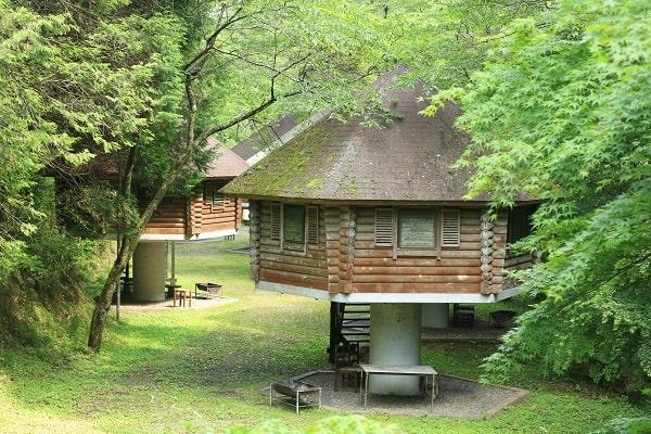 八滝ウッディランドのキノコ型ログハウス