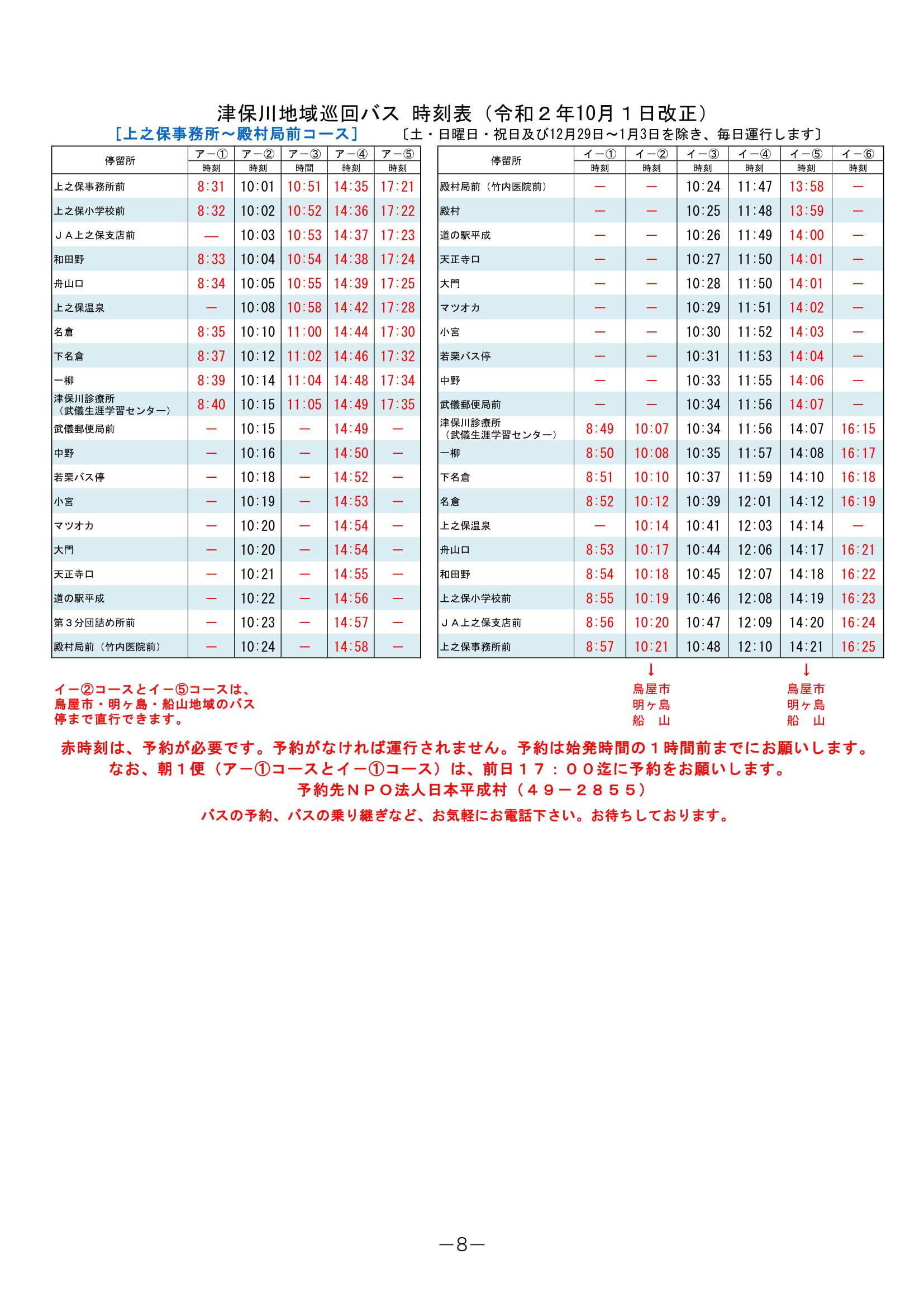 【上之保事務所~殿村局前コース】津保川地域バス時刻表(令和2年10月1日改正)